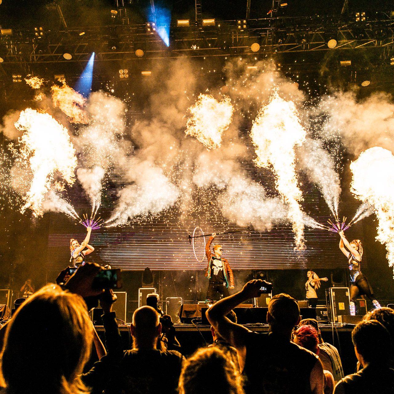 modern fire show with pyrotechnics Pyroterra - ohňové show - Harley Davidson opening
